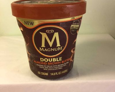 Magnum double almond brown butter ice cream, expiration June 2022