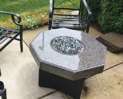 """32"""" Oriflamme Octagon Fire Table with granite top & steel base."""