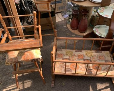Antique play pen and high chair