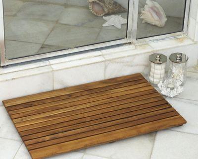 Shower Wood Floor Mat - Square African Teak Wood Mat