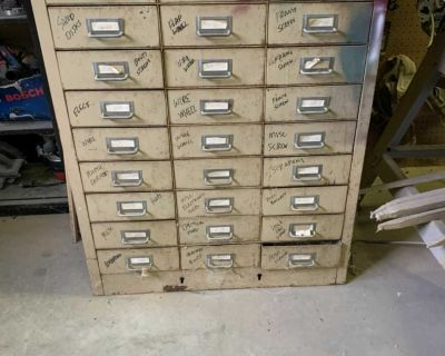 Metal parts cabinet with 27 drawers