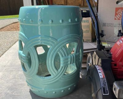 Teal ceramic outdoor end table/stool