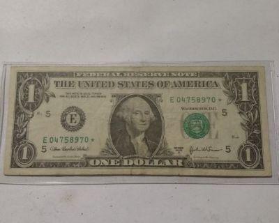 """"""" RARE """" 2003A $1 Star Note VF Condition."""
