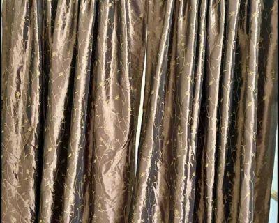 Brown silk curtains