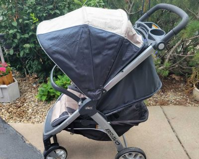 Chico bravo quick fold stroller black and tan color