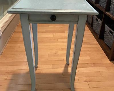 Painted Wooden End Table with faux drawer accent