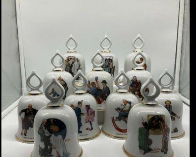 Norman Rockwell  Danbury Mint Bell Set of 12