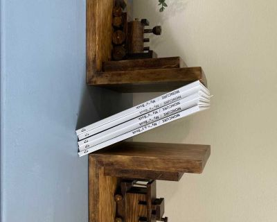 Handcrafted wooden train bookends