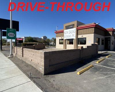 DRIVE-THROUGH Restaurant with w/patio between Starbucks & McDonald's.