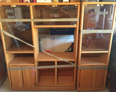 REDUCED: entertainment center with lots of glass and brass; like new