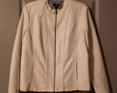 For Sale: Ana Faux Leather White Leather jacket