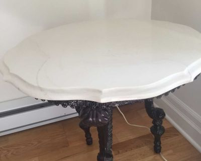 Two white marble side tables