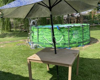 Pending Patio table and umbrella, no chairs