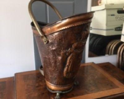 Antique Copper Fireplace Coal Bin