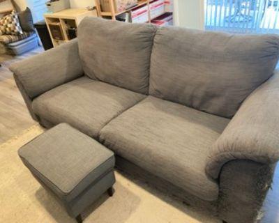 blue/gray sofa and ottoman