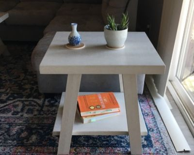 White Wood Side End Table with Storage