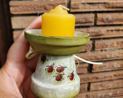 Small Votive INSECT Candle Holder - Hand Painted Ladybugs / Bees