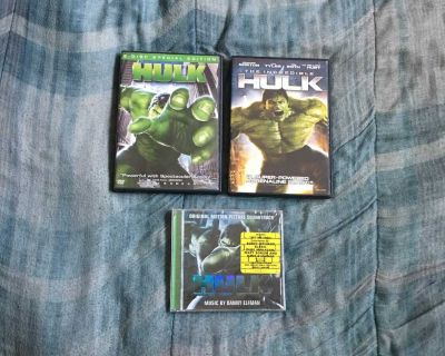 Lot Of Hulk Movie DVDs And Music CD