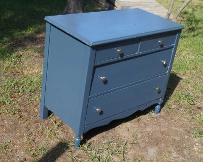 Antique Painted Wood Chest - Four (4) Drawers