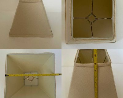 Small ivory-linen square lampshade