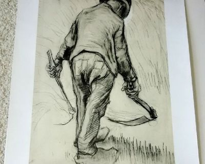 Vincent Van Gogh Art Print - Peasant Reaping Corn - Printed in Holland