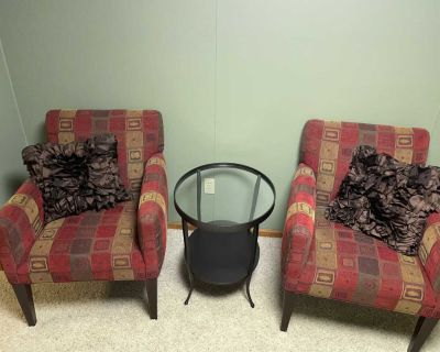 Room & Board chairs and end table