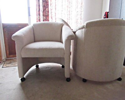 Pair of Accent Chairs With Casters for Den or Living Room