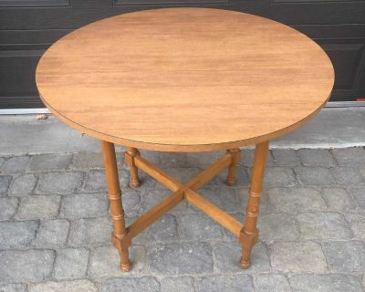 2 round wood tables