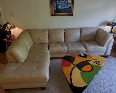 Leather Sofa, L shaped, two peices, beige