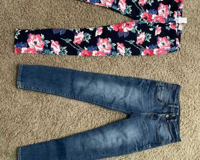 NWT Gap Kids medium ( leggings and Gap Kids size 8 adjustable waist jeans. Jeans were never worn but were washed. $12 for both.