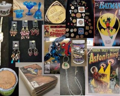Coins, Gold, Sterling, Jewelry, Vintage Comics, Antiques, Stoneware, Beauty Products, Stamps, Fenton