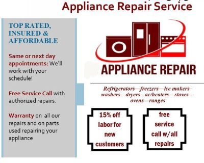 Appliance Repair Service - warranty on all work, affordable rates, professional service