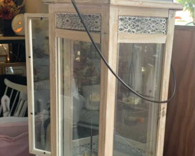 Lovely Large Lantern..Grey and Creme Colored