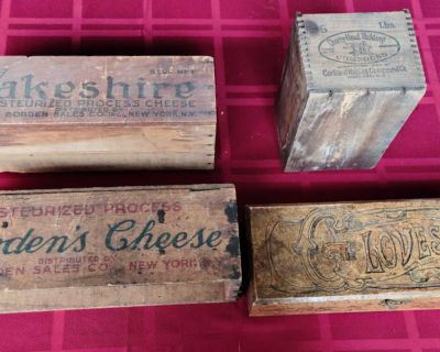 Lot of Vintage Wooden Boxes with Advertising