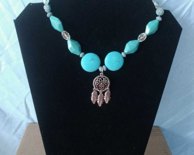 Dreamcatcher Turquoise Beaded Charm Choker Necklace