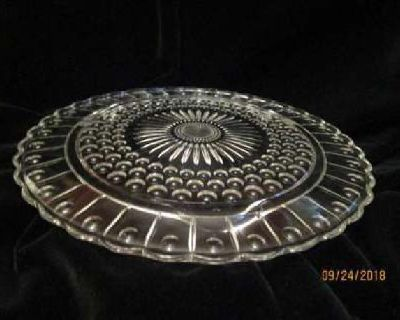 Vintage Cut Footed Glass Cake Plate