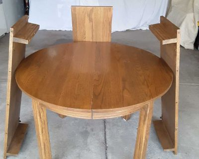 Oak dining table and matching cabinet