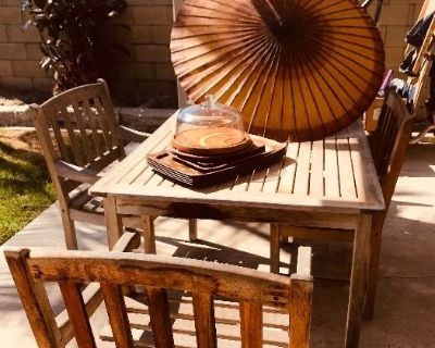 Art Books, Supplies, Crafts, Teak Patio Table and Bench!