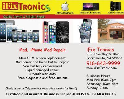 Professional iPhone repair in Natomas * New OEM parts in stock * 1 hour service