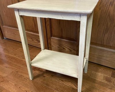Small 24 Wood Painted Side Table - for Bed or Couch Occasional- Cream Colored