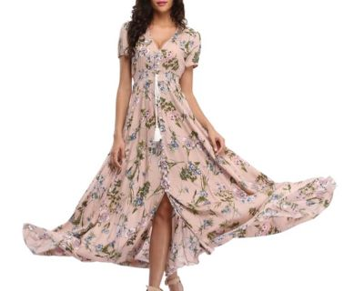 Witbuy Summer Beach Maxi Dress Bohemian Floral Print Woman V Neck Draw String Short Sleeve With Button Party Dress Women 2021