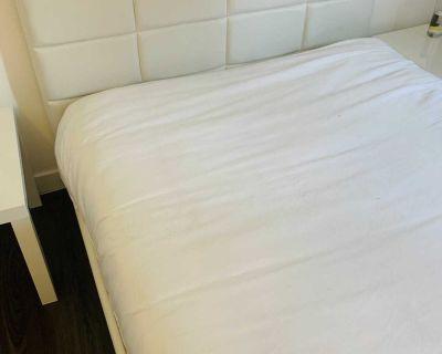 Cream Leather Full Platform Bed