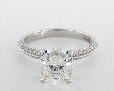 2.51 ctw. Cushion Cut Pave Setting Diamond Ring in 14K White Gold