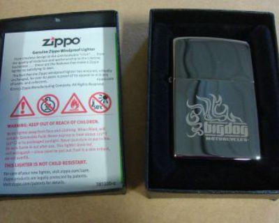Big Dog Motorcycles Zippo Lighter W/ Logo Black Ice Windproof Chopper K-9 Pitbul