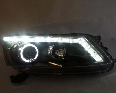 2008-2012 Honda Accord 4dr Projector Headlight Black With Halo, Led Drl & Signal