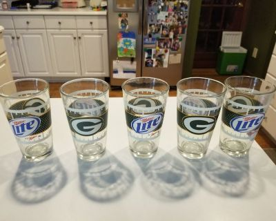 Qty 5 Authentic Promo GREEN BAY PACKERS Miller Lite Beer Pint Glasses