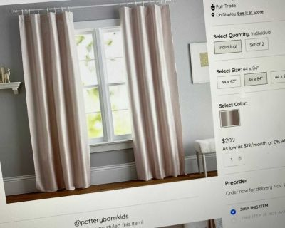 Pottery barn black out curtains (4) 84 long