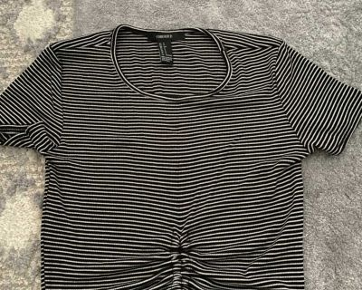 Forever 21 Scrunch Tie Striped Crop Top (Size S)