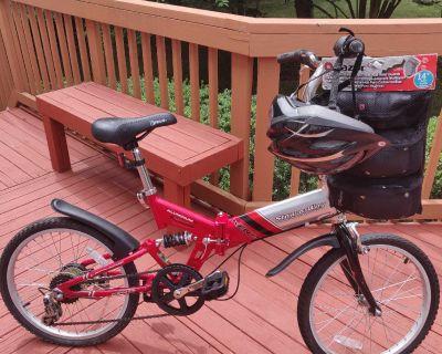 Kent stow-a-way aluminum bicycle with helmet and razor pad set