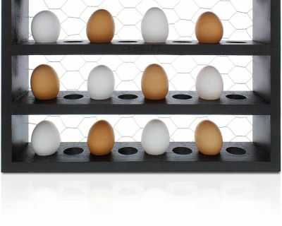 Chicken Coop Egg Rack - Wooden Farmhouse Rustic Egg Holder Countertop For 24 Small Eggs